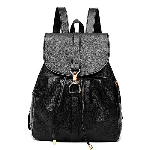 Tibes Fashion PU Leather Backpack School Bag Shoulder Bag Bags For Women Black 1