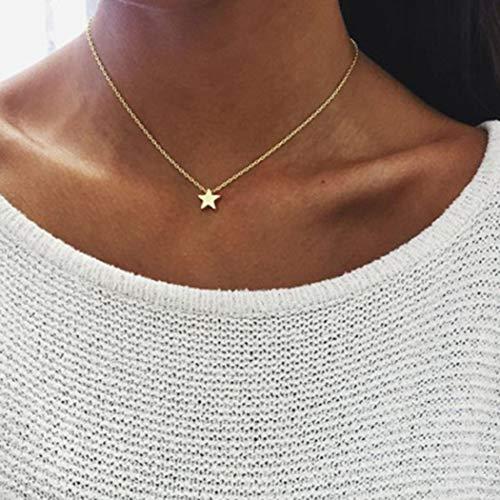 TseenYi Gargantilla bohemia con colgante de estrella dorada y colgante de clavícula minimalista para mujeres y niñas (dorado)