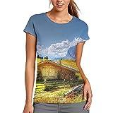 Hermoso paisaje natural Cabina de registro de las mujeres Casual camiseta de manga corta túnica Tops cuello redondo blusa cómoda