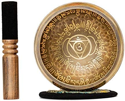 Tibetan Singing Bowl Set 4 2 inch with Holy Buddhist Mantra and Sacred Symbol from Nepal Antique product image