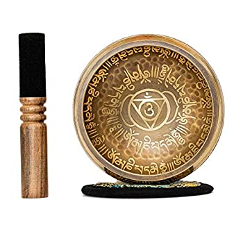 Tibetan Singing Bowl Set 4.2  inch with Holy Buddhist Mantra and Sacred Symbol from Nepal~ Antique design suitable for Yoga Meditation Sound Healing & Chakra Balancing~