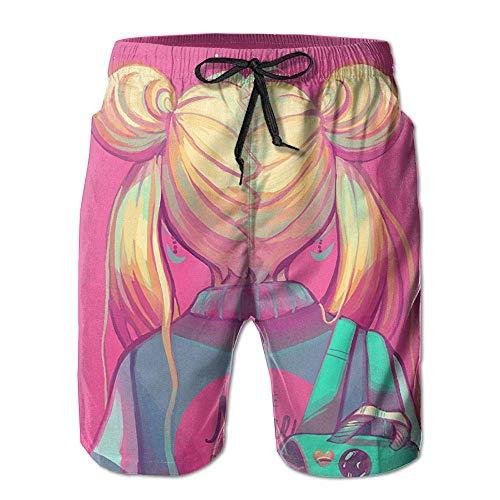 Pink Girl Back Men Beach Shorts Swim Trunks Quick Drying Board Short Lining