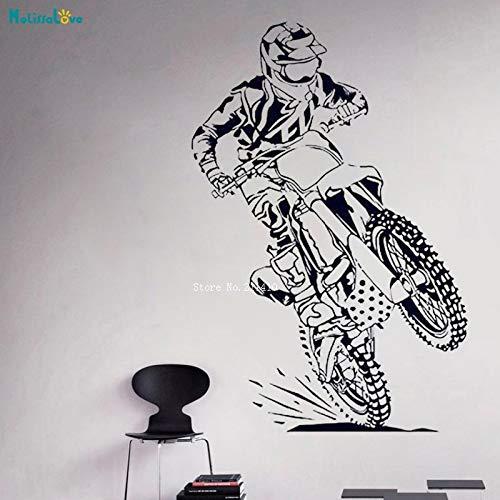 Racing Sports Dirt Autobike Off-road Motocicleta Casco Racer Vehículo Motocross Etiqueta de la pared Calcomanía de vinilo Dormitorio de niño Sala de estar Club Decoración para el hogar Mural