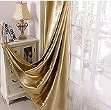 MYRU - Juego de 2 cortinas de oro semiopacas para cortinas doradas con ojales, para dormitorio de salón para Windows (dorado, 2 x 140 x 245 cm)