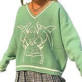 Suéter de punto de gran tamaño para mujer, con cuello en V, estilo vintage, estilo argyle y suéter, ropa estética (color: verde, tamaño: M)