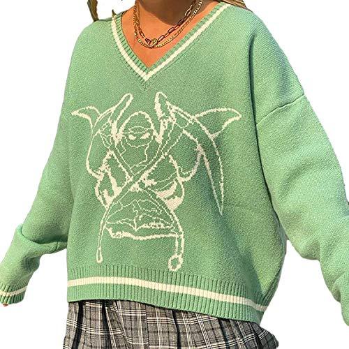 Suéter de punto de gran tamaño para mujer, con cuello en V, estilo vintage, estilo argyle y suéter, ropa estética (color: verde, tamaño: S)