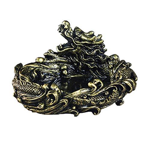 Huachaoxiang Vintage Dragón Cenicero para Cigarrillos Colecciones de Arte cenicero Grande polyresin Interiores o Exteriores decoración única Cenicero,Bronce