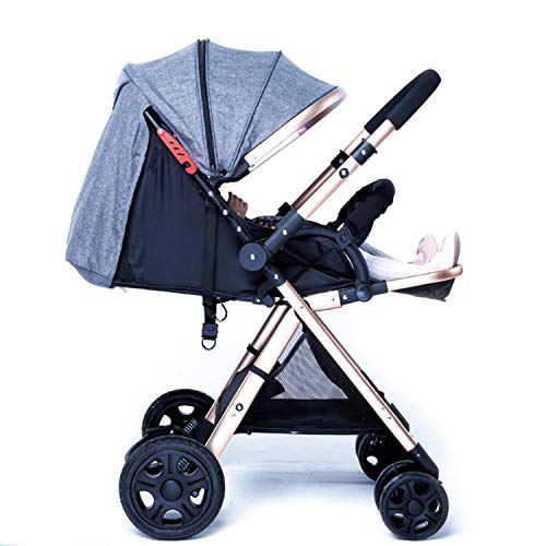 Best Review Of High Landscape Stroller Lightweight Folding Four-Wheeled Stroller Can Sit and Lie Dow...