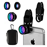 Elzo Fisheye Lens, 3 in 1 Clip-on Mobile Phone Camera Lens Kit 【2 Clips】198° Fisheye Lens + 0.65X Wide Angle Lens + 15X Micro Lens for iPhone X 8 7 6S 6 Plus 5, iPad, Samsung, HTC and More Smartphones