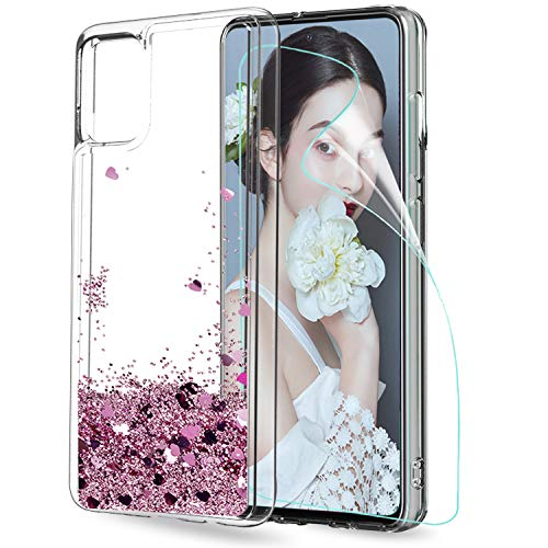 LeYi Funda Samsung Galaxy A51 Silicona Purpurina Carcasa Con HD Protector De Pantalla, Transparente Cristal Bumper Telefono Gel TPU Fundas Case Cover Para Movil A51 ZX Oro Rosa