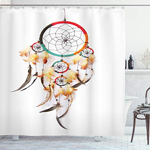 """Ambesonne Tribal Shower Curtain, Retro Style Bohemian Dreamcatcher Image Indigenous Culture Feather, Cloth Fabric Bathroom Decor Set with Hooks, 84"""" Long Extra, Multicolor"""