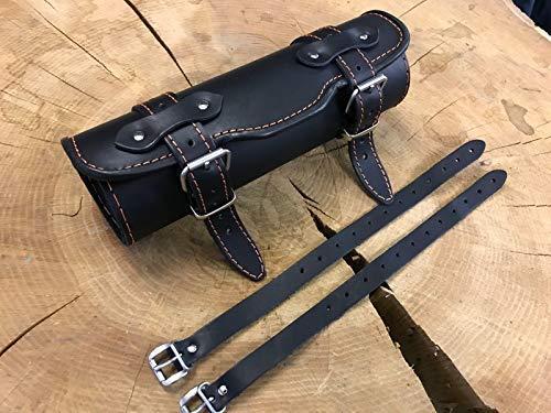 ORLETANOS Werkzeugrolle Tool Bag Gepäckrolle Limited Edition kompatibel mit Harley Davidson ORANGE Black lederrolle Rolle Leder schwarz farbige Naht HD Bugrolle Lenkerrolle
