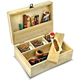 nunya large stash box for weed with accessories, this is a stash box with accessories, a total of 5 pcs kit with 3 smell resistant glass jars & a rolling tray - it looks like a natural bamboo weed stash box that is discrete & lockable
