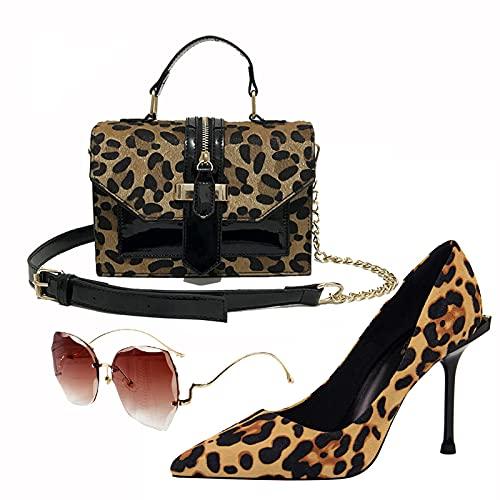 AELEGASN Moda para Mujer Tacones Altos Sandalias Sexy y Bolso con Estampado de Leopardo Gafas de Sol, Zapatos Africanos de Moda y Conjunto de Bolsos, Adecuado para Fiestas,34
