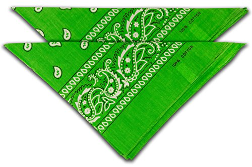 fashionchimp ® Nicki-Halstuch aus 100% Baumwolle im 2er Set, Unisex Bandana, AZO-Frei (Grün)