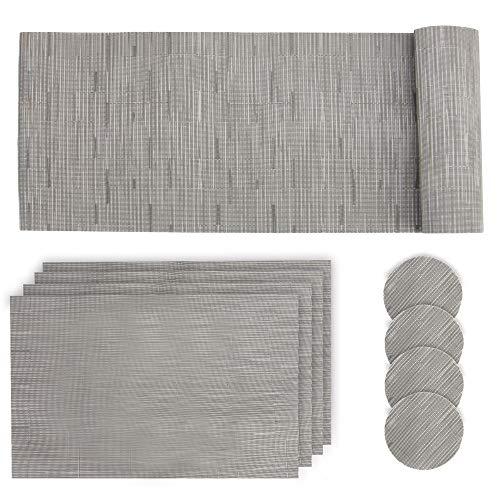 Juego de tapetes de mesa grises   9 manteles antideslizantes   Protector de mesa, 4 manteles individuales y 4 posavasos   Conjuntos de mesa  Juego de tapete y posavasos para mesa de comedor   Pukkr