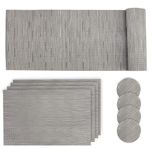Grey Table Mat Set | 9 Anti Slip Place Mats | Table Runner, 4 Placemats & 4 Coasters | Dinner Plate Sets | Dining Table Mat & Coaster Set | Pukkr