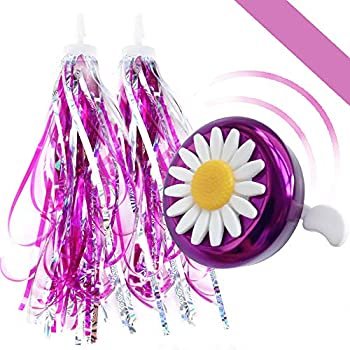 Tiktoy Kids Bike Bell and Streamers for Girls-1 PCS Bicycle Handlebar Bell for Kids Girls and 2 PCS Children Bike Streamers for Outdoor Sports Kids' Bike Accessories Purple&White