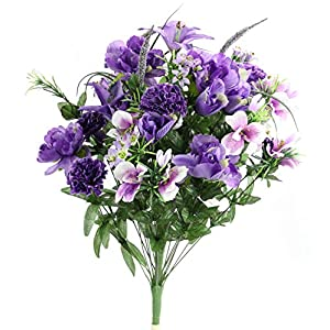 Silk Flower Arrangements Admired By Nature ABN1B001-LAV 40 Stems Artificial Full Blooming Lily, Rose Bud, Carnation and Mum with Greenery Flower Bush, Lav, Lavender Mix