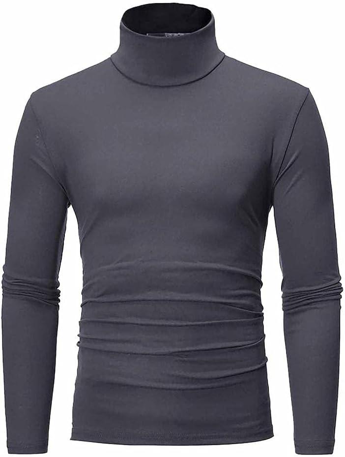 YESZ Men's Slim Fit Basic Thermal Turtleneck Men's Slim Fit Soft Turtleneck Long Sleeve Casual Cotton Knitted Pullover T-Shirt-Dark_Gray_XXL