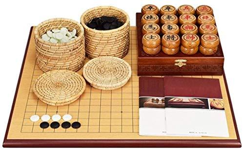 SJZLMB Tablero de ajedrez IR Chino ajedrez Conjunto Grueso de ajedrez de Madera de Doble Cara Piezas de ajedrez