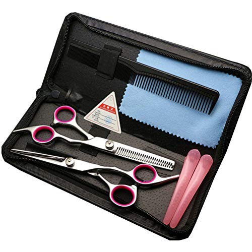 Macabolo Professionele kappersschaar van roestvrij staal, 6 inch, kappersschaarset, kappersschaar, kappersgereedschap voor mannen en vrouwen roze