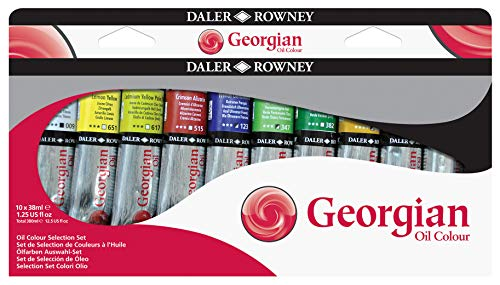 Set Selección de Pintura al Óleo Daler Rowney Georgian, con 10 Tubos de Colores Surtidos (10 x 38 ml)