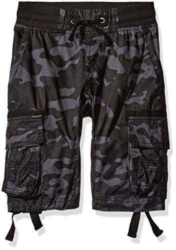 Southpole Boys' Big Fine Twill All Over Camo Jogger Shorts with Cargo Pockets, Grey/Black, Small