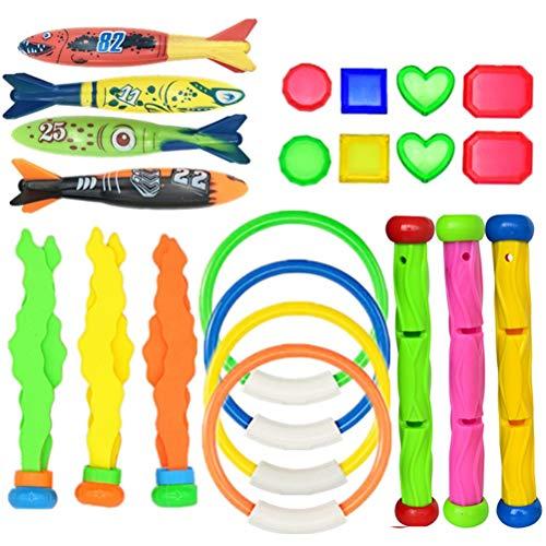 Hinder Juego de 22 piezas de juego de buceo, regalos de piscina, suministros de juego subacuático, juguetes de piscina, juguetes de buceo subacuáticos, juego de tesoros, juguetes de regalo para niños