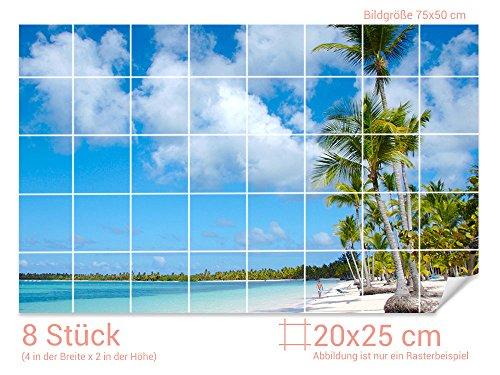 GRAZDesign Fliesenfolie Bad Strand - Badezimmer Fliesen überkleben Palmen - Fliesenbilder selbstklebend Paradies - Fliesenaufkleber Urlaub/Fliesenmaß: 20x25cm (BxH) / 761005_20x25_50