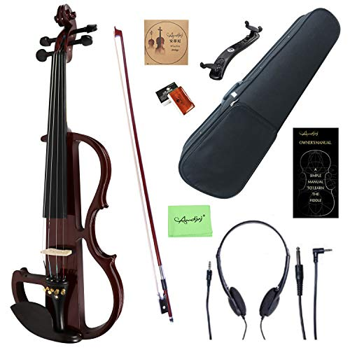 Amdini 4/4 Wine Red Colored Solid Wood Electric/Silent Violin Kit with Ebony Fittings (Full Size)