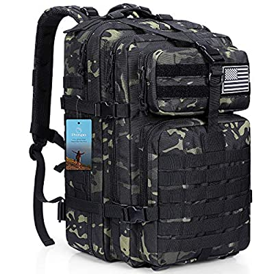 Prospo 40L Military Tactical Shoulder Backpack Assault Survival Molle Bag Pack Fishing Backpack for Tackle Storage Black CP