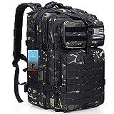 Prospo 40L Military Tactical Shoulder Backpack Assault Survival Molle Bag Pack Fishing Backpack for Tackle Storage Black CP