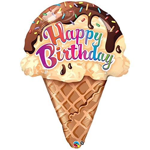 Qualatex - Globo con forma de cucurucho de helado con texto Happy Birthday