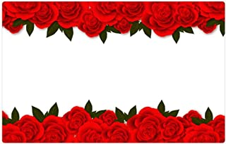 Tree26 Indoor Floor Rug/Mat (23.6 x 15.7 Inch) - Roses Flowers Red Rose Banner Postcard for Web