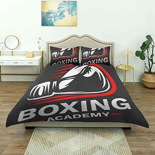 Funda nórdica, Emblema de Guantes de Boxeo, Juego de Cama de Lujo, Microfibra Ligera y cómoda