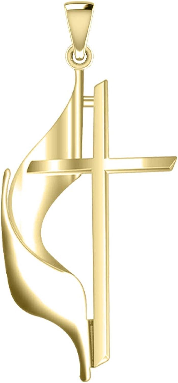 US Jewels Ladies 14k Yellow Methodist Cross Gold Pendant 19mm 5 ☆ popular Max 88% OFF