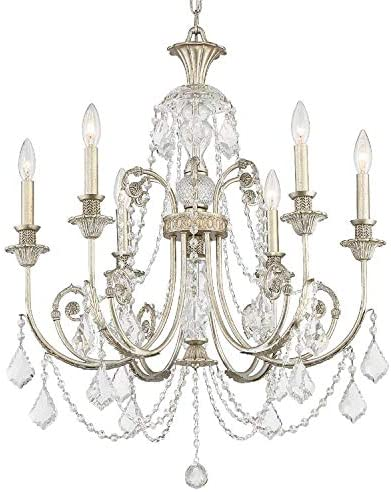 lowest Regis discount 6 Light Clear Crystal Silver high quality Chandelier online sale