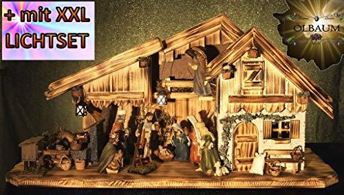 ÖLBAUM-Krippe KA70ng-MFPO-SKR-T2LF2 Große alpenländische Holz-Weihnachtskrippe, mit BRUNNEN Wassergrand + Premium-DEKOSET Krippenstall, Massivholz edel GEFLAMMT - mit großen Premium-Krippen