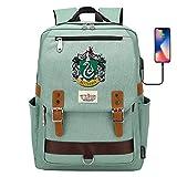 NYLY Hogwarts Slytherin College Mochila, Mochila Escolar para portátil de Harry Potter, con Puerto de Carga USB, Mochila de Viaje de Ocio 42 * 30 * 16CM Verde