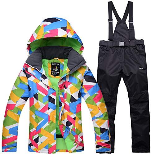 Yeah-hhi Traje de nieve para mujer, juego de chaqueta y pantalones de esquí, impermeable, resistente al viento, snowboard, con capucha, para deportes al aire libre, talla 11, XL