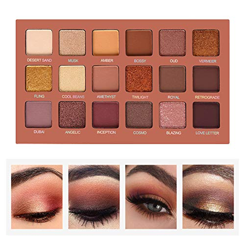 SEPROFE Palette de fards à paupières Professional Smokey Eye Shadows Nudes hautement pigmentées 18 couleurs chocolat chaud Matte Shimmer Neutral Eyeshadow Maquillage Kits (Elegance Nude-18 colors)