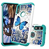 LEMAXELERS Moto E 2020 Case 2 in 1 Hybrid Rhinestone Glitter Hard PC Shockproof Case Soft TPU Bumper Anti-Scratch Protection Slim Cover for Motorola Moto E 2020 Diamonds 2 in 1 Blue Butterfly YB