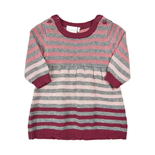 MINYMO Baby Mädchen Kleid, Strickkleid mit Streifen in Maroon, Größe:68