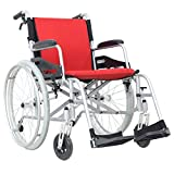 "Hi-Fortune Magnesium Wheelchair 21lbs Lightweight Self-propelled Chair with Travel Bag and Cushion, Portable and Folding, 17.5"" Seat, Red, 21lbs"