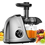 Jocuu Juicer Machines, Slow Juicer Masticating Juicer Easy to Clean, Cold Press Juicer Extractor for Vegetables and Fruits, Soft/Hard 2-Speed, Quiet Motor, Reverse Function, with Brush & Recipes