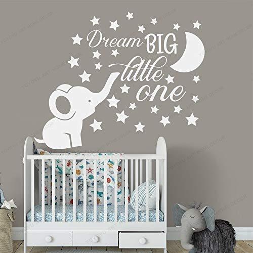 Crjzty Applique Elephant Nursery Sticker Mural Chambre de bébé Decor Dream Big Little One Quote Wall Vinyle Autocollants Lune et étoiles Stickers71x57 cm