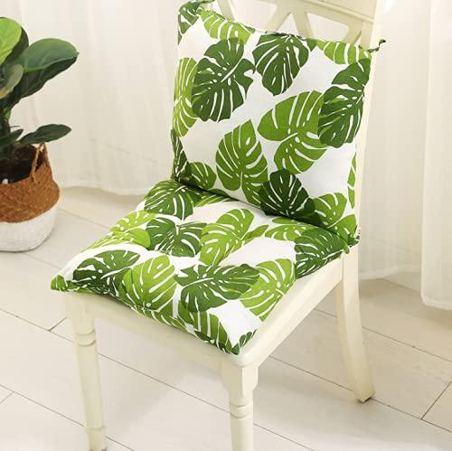 Skynewer Cojín de silla con respaldo respaldo con correas de respaldo respaldo bajo, cojín de jardín y comedor, cojín de asiento para interior y exterior, 45 x 45 cm (verde)