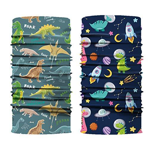 GESTAND Nahtlose Multifunktionstuch für Kinder 2 Stück,Schlauchschal Multifuktionale Halsmanschette Schal Kopfbedeckung Sturmhaube für Jungen Mädchen 4-12 Jahre (Dinosaurier)