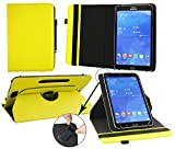 Emartbuy® Medion Lifetab P8502 8 Zoll Tablet Universal ( 7 - 8 Zoll ) GepolsterteDesign Gelb 360GradrotierendeStandFolioGeldbörseTascheHülle + Schwarz Eingabestift